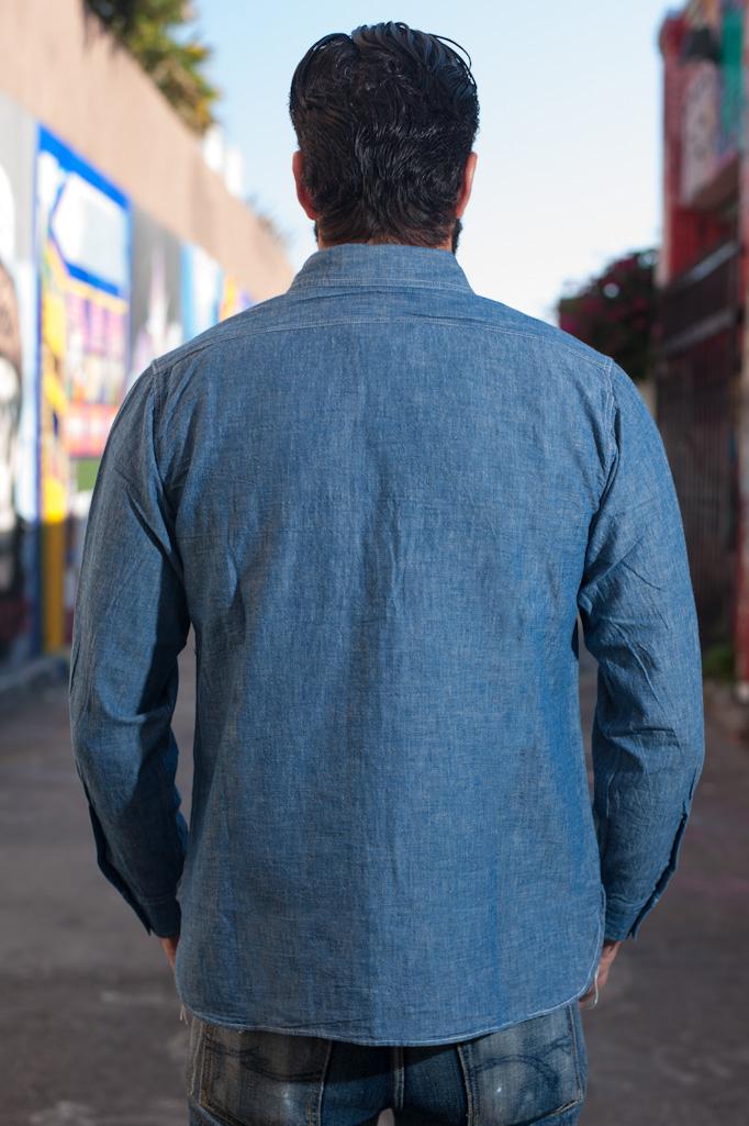 Buzz Rickson USN Chambray Shirt - Indigo - Image 4