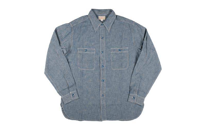 Buzz Rickson USN Chambray Shirt - Indigo - Image 3
