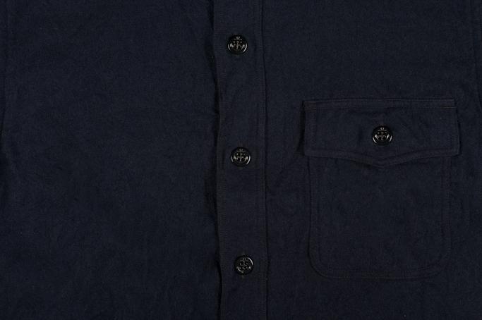 Buzz Rickson Navy Wool Flannel CPO Shirt - Image 4