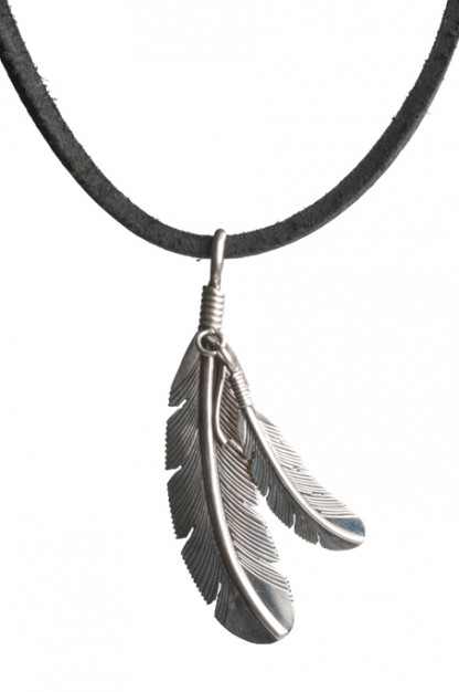 Self Edge Silver Double Feather Necklace