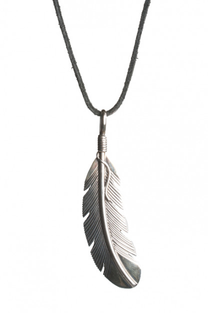 Self Edge Silver Feather Necklace