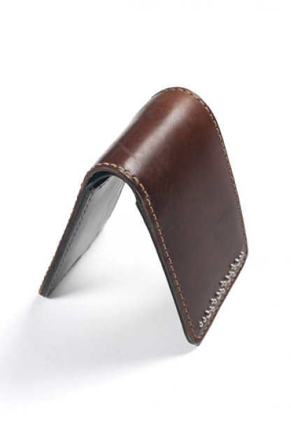 Flat Head Horsehide Bi-Fold Wallet - Brown