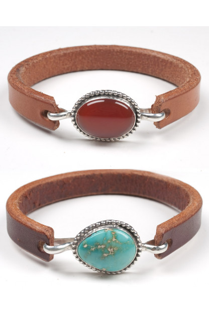Self Edge Leather & Silver Bracelets w/Stones
