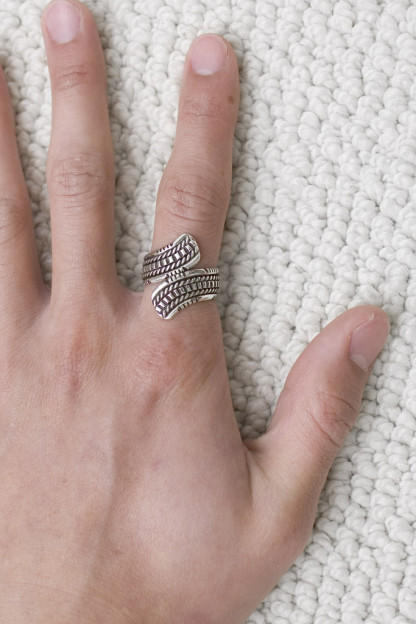 Self Edge Wire Wrap Ring - Outward