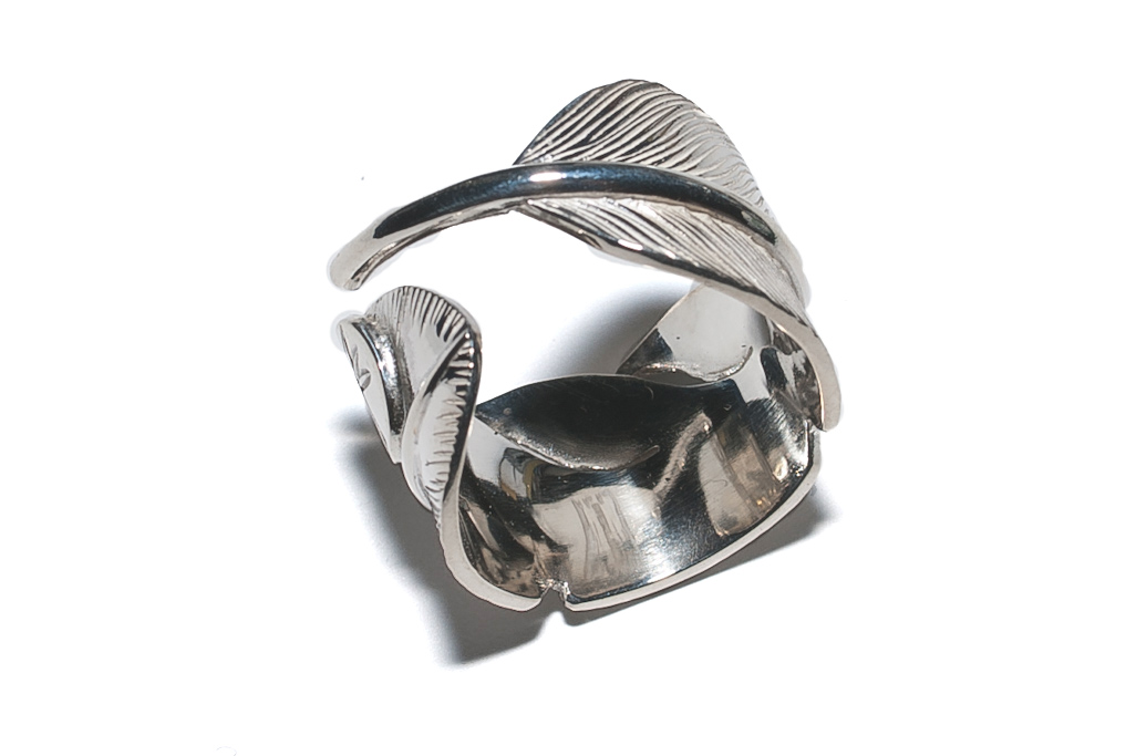 Flat Head Silver Feather Ring - Image 1