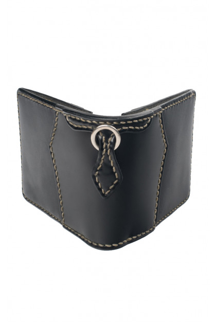 Flat Head Wild Child Leather & Cordovan Wallet - Black