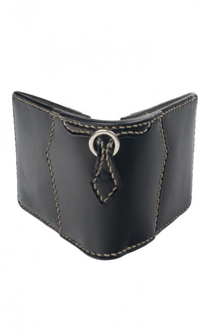 Flat Head Wild Child Leather & Cordovan Wallet - Black