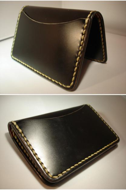 Flat Head Cordovan Card Case - Black