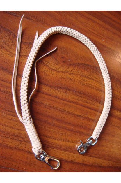 Flat Head Woven Leather Chain - Tan